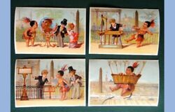 Lot Antique Victorian 4pc Native American Indian Child Trade Card Kitterlimus
