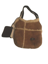 Ugg Wheat Color Suede Shearling Faux Fur Lined Hobo Tote Bag Purse Shoulder $45.00