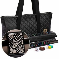 American Mahjong Black Deco 166-tile Pusher Rack Quilted Case Us-af029-b New
