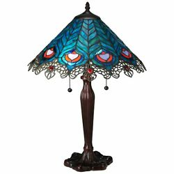 23h Peacock Feather Lace Table Lamp