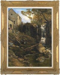 Water Mill Whitby Antique Oil Painting Thomas Creswick R.a. British, 1811-1869