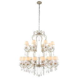 Vintage Silver Rustic Farmhouse Iron With Shades Crystal Chandelier 24 Light 55