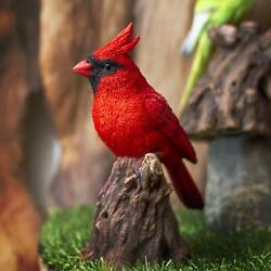 Ebros Cardinal Perching On Branch W/ Motion Activated Bird Sound Statue 6.5h