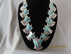 Vintage Navajo Silver And Turquoise Thunderbird Necklace 12 Birds