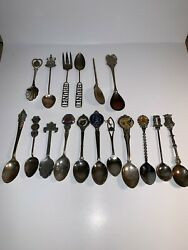 17 Vintage Mixed Collectible Souvenir Spoons Lot Some Silver Plated Sterling's