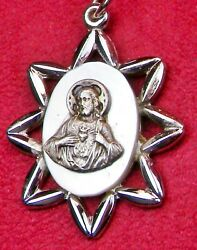 Catholic Nunand039s Vintage Sterling Mother Of Pearl Catholic Scapular Rosary Medal