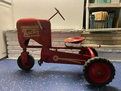 Vintage 1950s Used Red Bmc Heavy Duty Pedal Car Tractor Senior