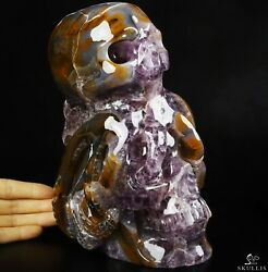 8.1 Amethyst And Agate Carved Crystal Skull Realistic Crystal Healing 448