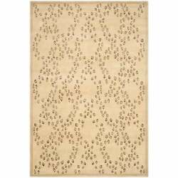 Safavieh Couture Hand-knotted Edelinde Wool/ Silk Rug Oatmeal/black 6and039 X 9and039