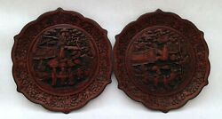 Pair Of Cinaber Plate Lacquered Qianlong Sign