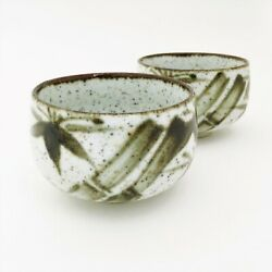 2 Speckled Stoneware Tea Saki Cups Hand Crafted Japan Green Bamboo Euc