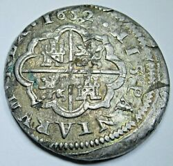 1652 Spanish Silver 2 Reales Antique 1600's Colonial Cross Pirate Treasure Coin
