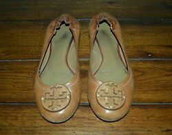 TORY BURCH LEATHER BALLET FLATS CARAMEL BROWN SIZE 6.5 $16.90