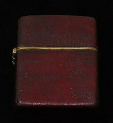 Vintage Zippo 1950 Prototype Oil Lighter W/ Full Red Leather Wrap