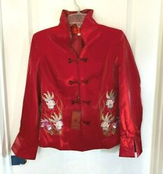 Red Embroidered Koi Fish Asian Lined Silk Jacket Frog Closure Size Xl Nwt