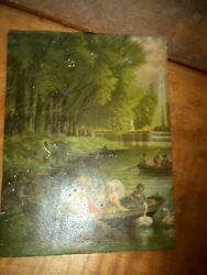 Antique Victorian Oil On Pasteboard River / Pond Scene Summer Late 1800andrsquos-