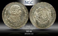 1963-mo Mexico 1 Peso Ngc Ms 66 Silver Only 7 Graded Higher Registry Quality