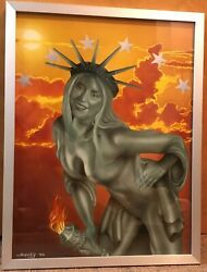 T1 Statue Of Liberty Wins American Pinup Beauty Pageant Framed Painting