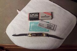 Schrade Uncle Henry 877uh Liner Lock Guthook Blade Knife Made In The Usa Nib