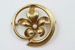 Vintage Estate 14k Solid Yellow Gold Fancy Flower Design Pearl Pin