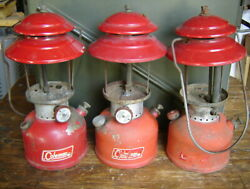 Lot Of 3 Vintage Coleman Red 200a Lanterns 9-64 1-65 10-66 For Parts Or Repair