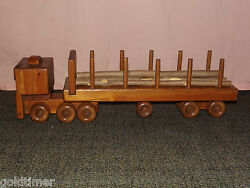 Vintage Toy Large 25 Long Handcrafted Wood Log Truck
