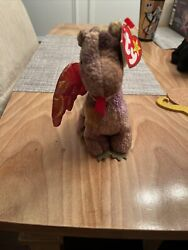Retired Ty Beanie Baby 4210 Scorch The Dragon 1998 Rare Iridescent Wings