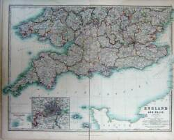 Old Antique Print Map England Wales Atlas London Channel Islands Scilly
