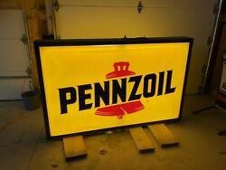 Vintage Pennzoil Embossed Double-sided Lighted Sign 73andrdquo X 46andrdquo.