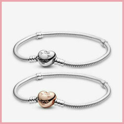 New Pandora 925 Sterling Silver Moments Heart Clasp Snake Chain Bracelet Charms