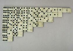 Good Set Of Antique Bovine Bone Dominoes With Brass Spinners Vintage B