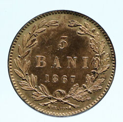 1867 Romania With King Carol I Crowned Antique Vintage Old 5 Bani Coin I96424