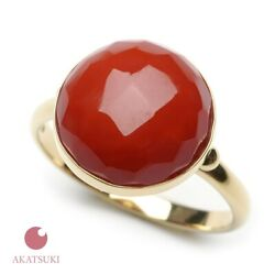 Rare Japanese Red Coral K Ring Present 60th Birth Celebrations Gold