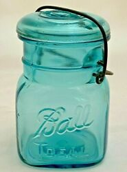 Antique Blue Glass Ball Ideal No. 3 Canning Jar With Lid And Wire Bale