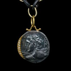 Handmade Roman God Coin Pendant Using Solid 24k Gold, Silver, And Diamonds