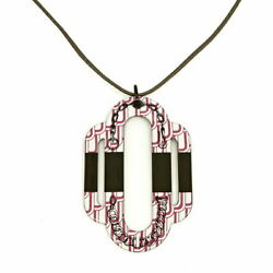 Hermes Atlage Necklace Metal White Pink Black Pendant Womenand039s Staples Popularity