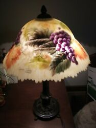 Glynda Turley Reversed Hand-painted Grapes Parlor/table Lamp Signed And Dated