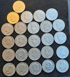 1971-78 Dollar Eisenhower. 25 In Total. Good Condition. Historical Coins. 🎁