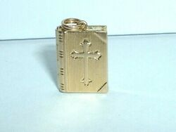 Vintage 14k Yellow Gold 3d Bible Book Charm Pendant Opens To Lord's Prayer