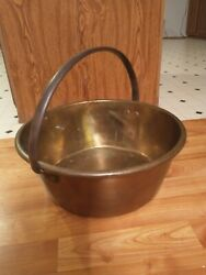Large Vintage Brass Jelly Kettle With Rolled Edge And Iron Handle