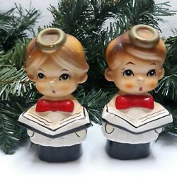 Vintage Antique Choir Girl And Boy Salt And Pepper Shakers Holding Hymm Book