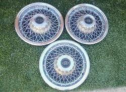 Factory Buick Riviera Wire Wheel Covers For 15 Inch Rims Hubcaps Late 70s 3 Caps