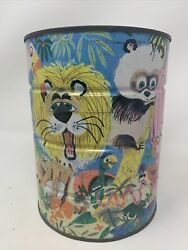 Vintage Folgers Coffee Jungle Zoo Animal Design Tin Can No Lid 1960's No Dents