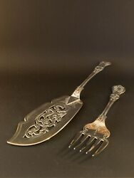 Antique Walker And Hall Silver Plate Fish Servers Hallmarked 1894