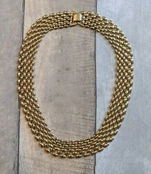 Vintage Panther Link Chain Necklace Gold Tone Wide 7 Row