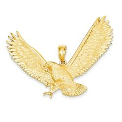 14k Yellow Gold Extra Large 2d Textured Eagle Pendant