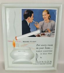 Vintage Ronson Table Lighter Store Counter Display Stand Sign Ad