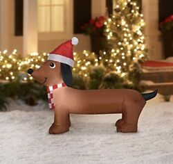 Holiday Time Darling Dachshund 4 Ft Lights Up Airblown Inflatable  New