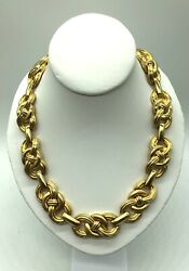 Givenchy Heavy Gold Tone Link Chain Logo Necklace Choker Vintage Authentic