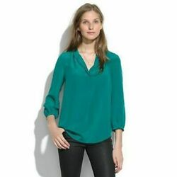 Madewell Emerald Green 100 Silk Poet Blouse Size Small